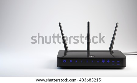 Wi-Fi wireless router - 3d render - stock photo