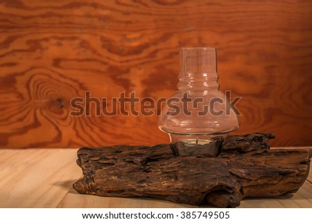 Wick timber Placed on a wooden table And background