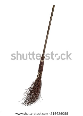 Wicked broom on white background - stock photo