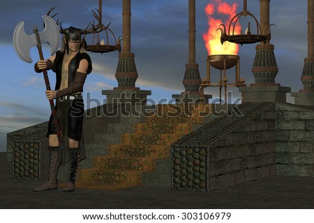 Wicked Shrine - A tribal warrior waits at a shrine for others from his village to carry out a ritual. - stock photo