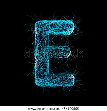 Wicker Alphabet. Letter E. Neurone concept. 3D illustration - stock photo