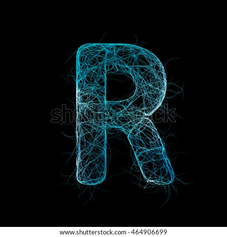 Wicker Alphabet. Neurone concept.  Letter r. 3D illustration