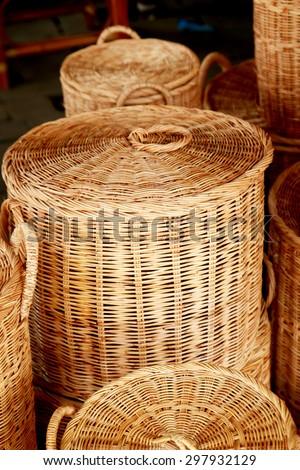 Wicker Bamboo baskets - stock photo