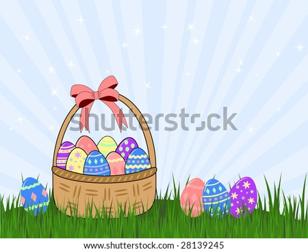 wicker basket and easter eggs on grass
