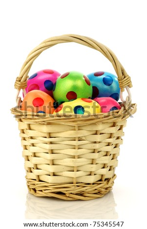 wicker basket filled with colorful easter eggs on a white background