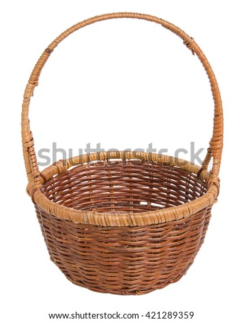 Wicker basket for the food isolated on white background