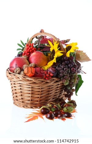 Wicker basket full of autumn stuff, isolated background