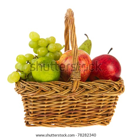 wicker basket full with fresh fruit isolated over white background