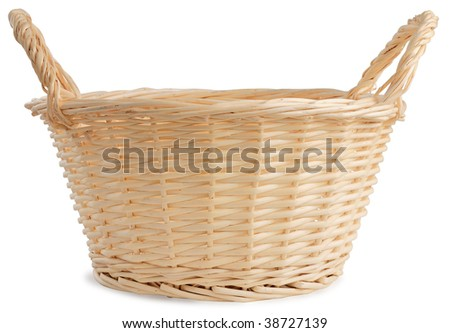 Wicker basket isolated against white background. - stock photo