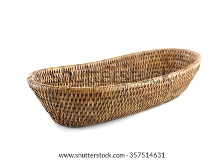 Wicker basket, isolated on white - stock photo