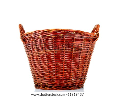 Wicker basket - isolated over white - stock photo