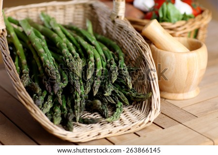 Wicker basket of asparagus
