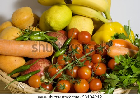 Wicker basket of fruits and vegetables
