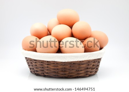 wicker basket with chicken eggs