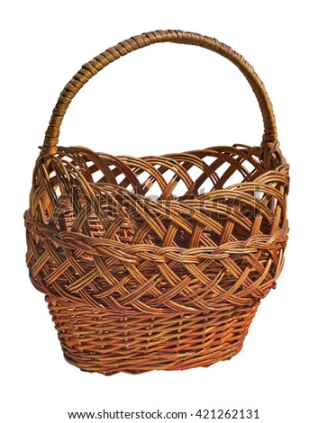 Wicker  basket with handle on a white background. Handmade. Weaving. Shopping for products, fruit, bread. Picnic basket. Isolated. Camping. Lunch. Wicker box for food. Eco-friendly, rustic.  rural. - stock photo