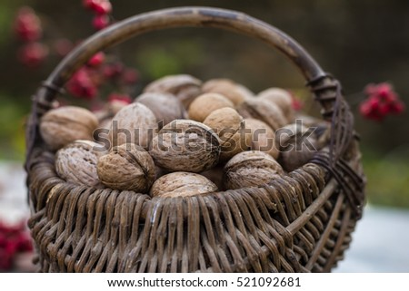 Wicker baskets containing walnuts
