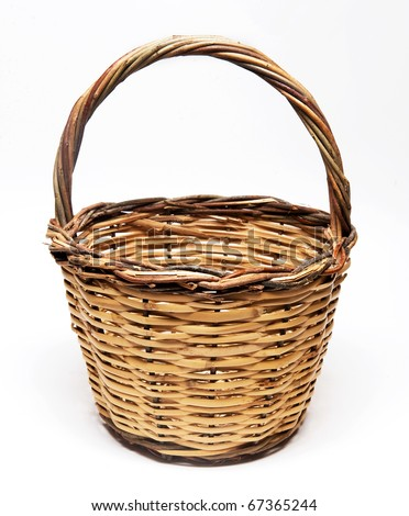 wicker baskets isolated in white background - stock photo