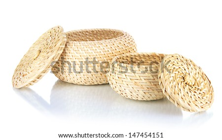 Wicker baskets isolated on white