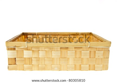Wicker Box isolated on white background - stock photo