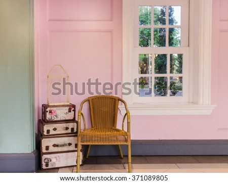 wicker chair and in vintage room, background - stock photo