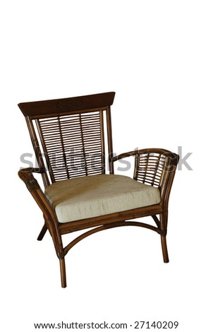 Wicker chair isolated - stock photo