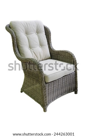 wicker chair isolated under the white background - stock photo