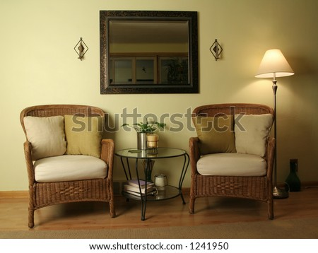 Brown Living Room Cane Chairs : wicker chairs and glass table...