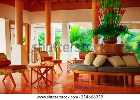Wicker chairs and table - stock photo