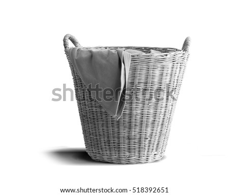 wicker clothes basket,black and white