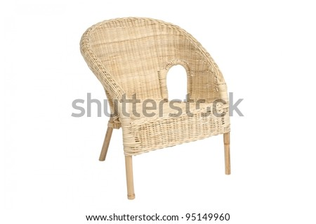 Wicker comfortable armchair, isolated on white background - stock photo