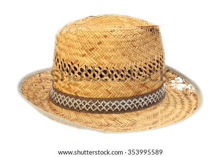 wicker damaged old hat isolated over white background