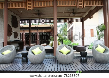 Wicker furniture and massage rooms.