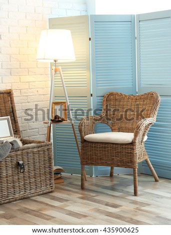 Wicker Furniture In Room Design Interior
