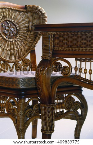 Wicker furniture made of twigs. Antique desk and chair - stock photo