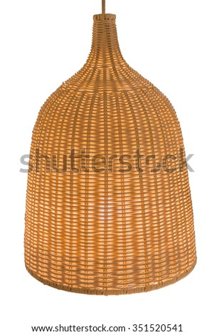 wicker lamp isolate on white background - stock photo