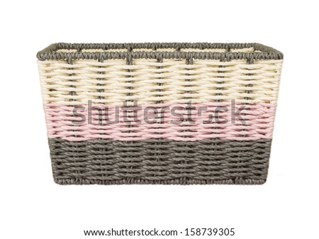 wicker laundry basket  isolated on white