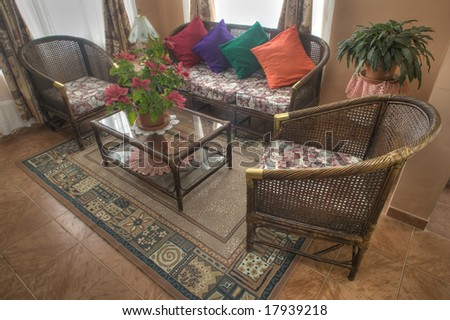 Wicker living room - stock photo