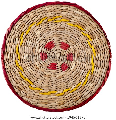 Wicker placemat Isolated on white background - stock photo