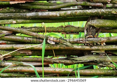 Wicker rustic fence  background - stock photo