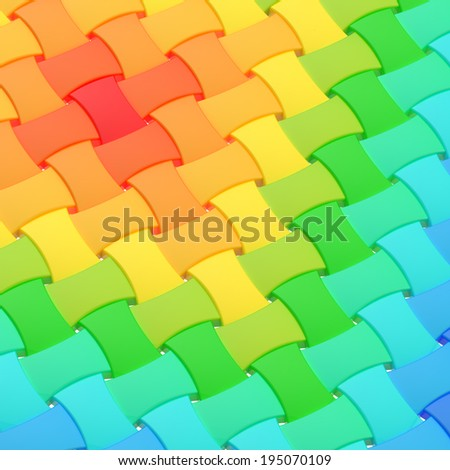 Wicker surface as an abstract background composition made of colorful glossy elements - stock photo