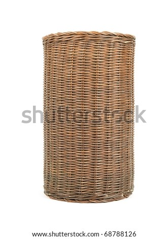 Wicker trash basket isolated on white - stock photo