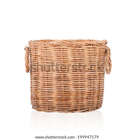 Wicker trash basket on white background - stock photo