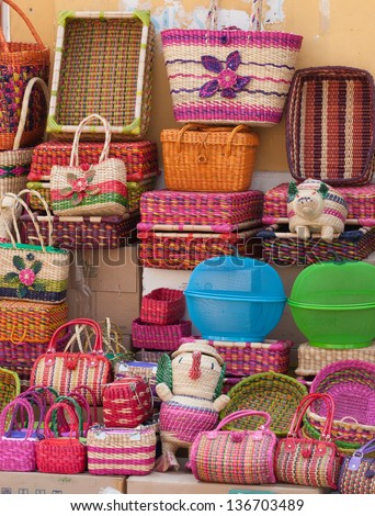wicker woven baskets handicraft in peru - stock photo