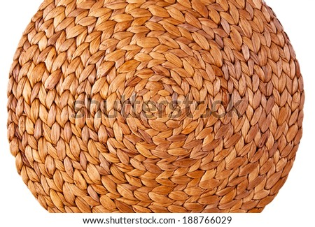 Wicker Woven Handmade Craft Placemat for background,wallpaper and texture. - stock photo