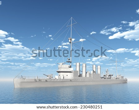 Wickes-Class Destroyer of the Allied from the second world war Computer generated 3D illustration - stock photo