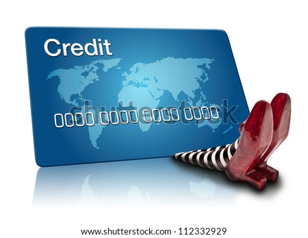 Wicket Witch falling on a Credit Card - stock photo