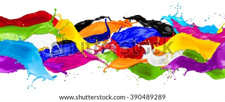 wide abstract color splashes isolated on white background - stock photo