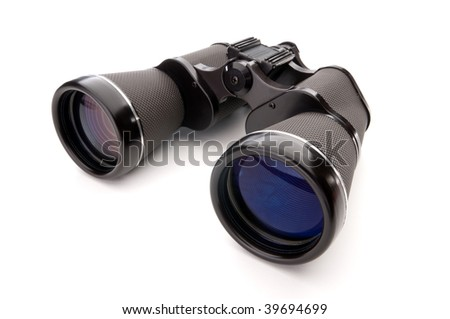 Wide angle close up of binoculars on a white background - stock photo