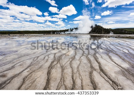 Wide angle closeup of bacterial patterns in the Grand Prismatic Spring in the Midway Geyser Basin of Yellowstone National Park, Wyoming - stock photo