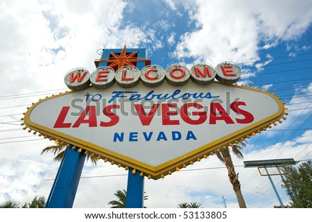 Wide angle closeup of the Welcome to Las Vegas sign. - stock photo